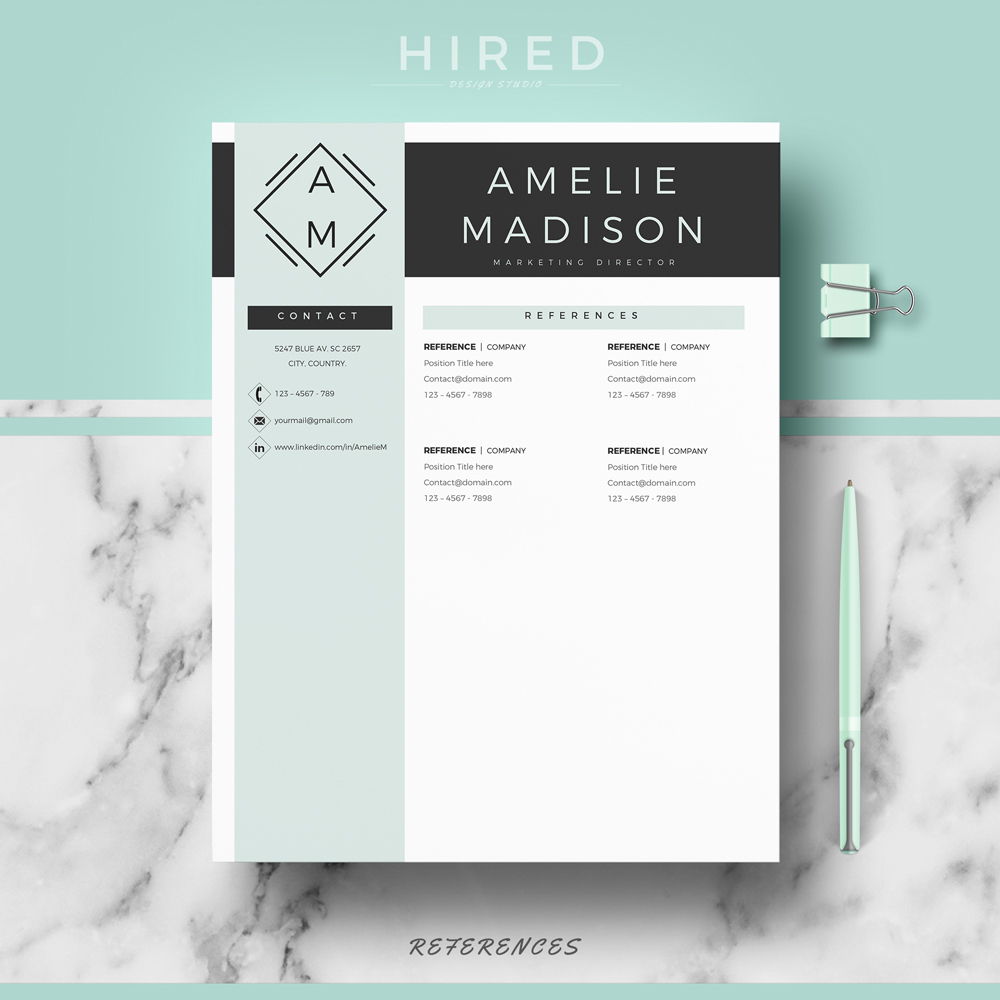 "Professional & Modern Resume Template for MS Word: ""Amelie"""