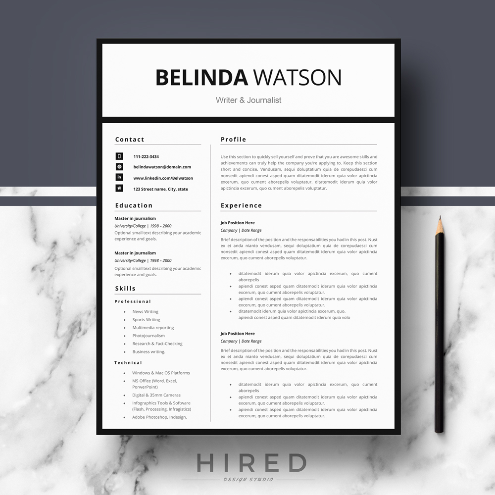 "Professional, Modern and Minimalist Resume Template for MS Word: ""Belinda"""