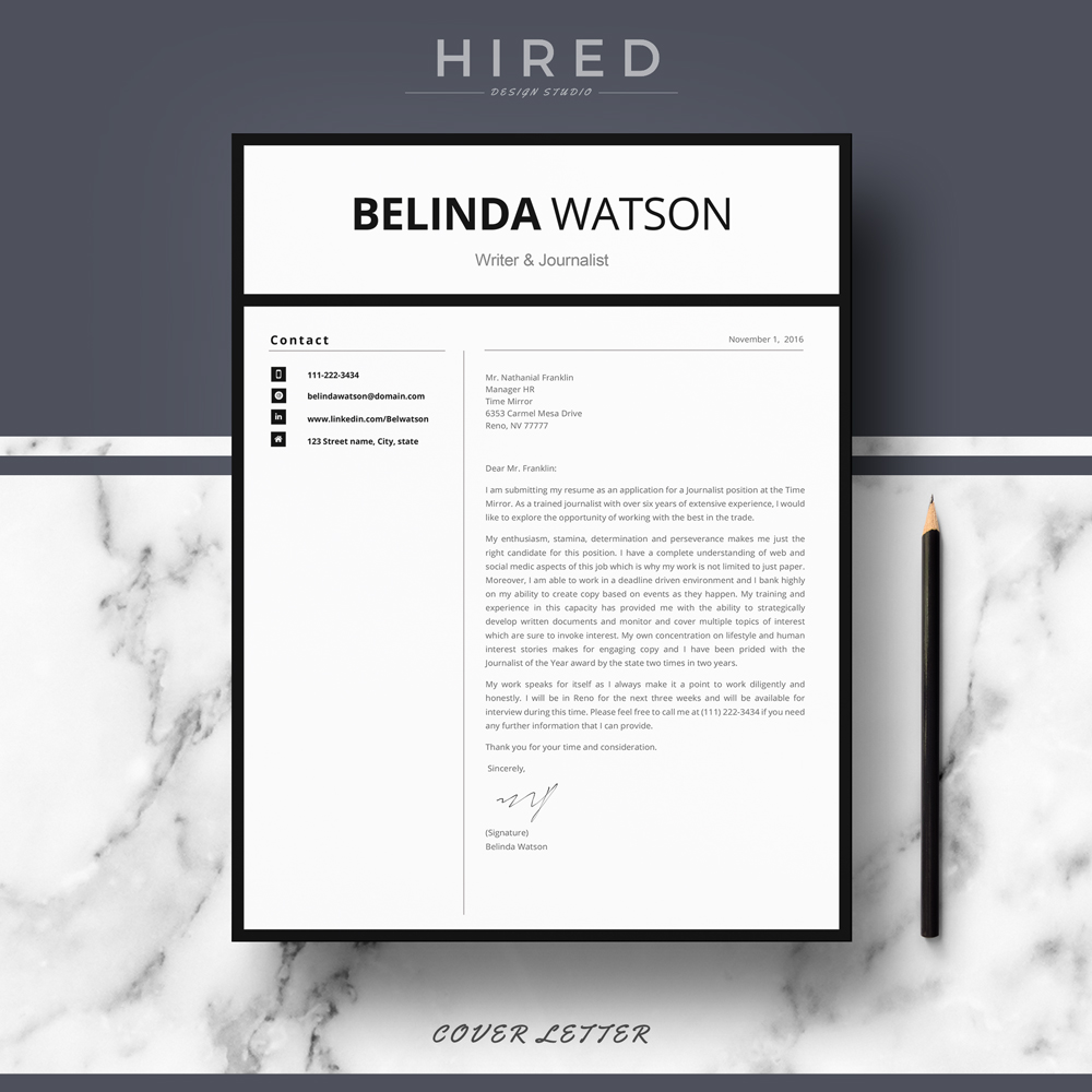 """Professional, Modern and Minimalist Resume Template for MS Word: """"Belinda"""""""