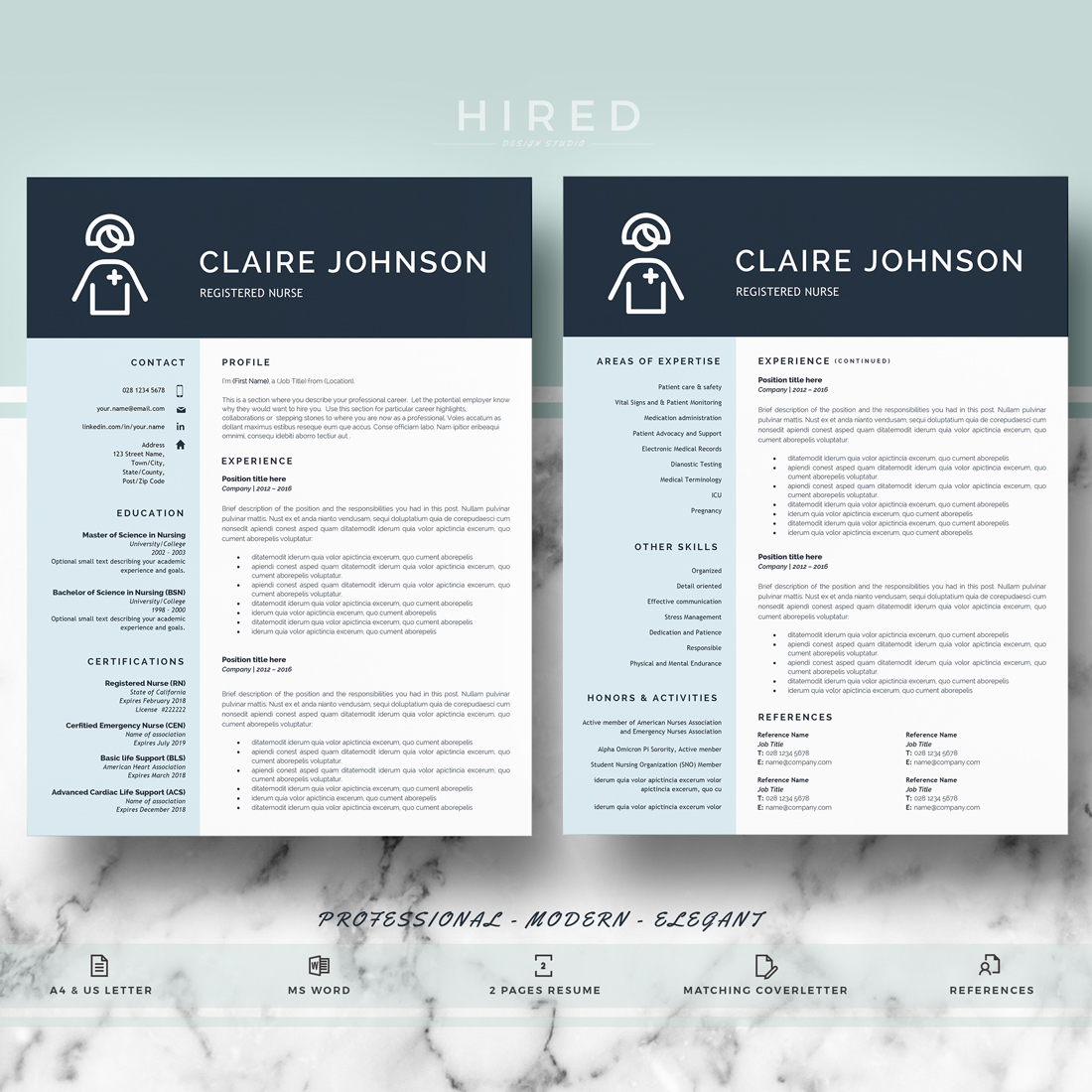 "Nurse Resume Template for MS Word: ""Claire"""