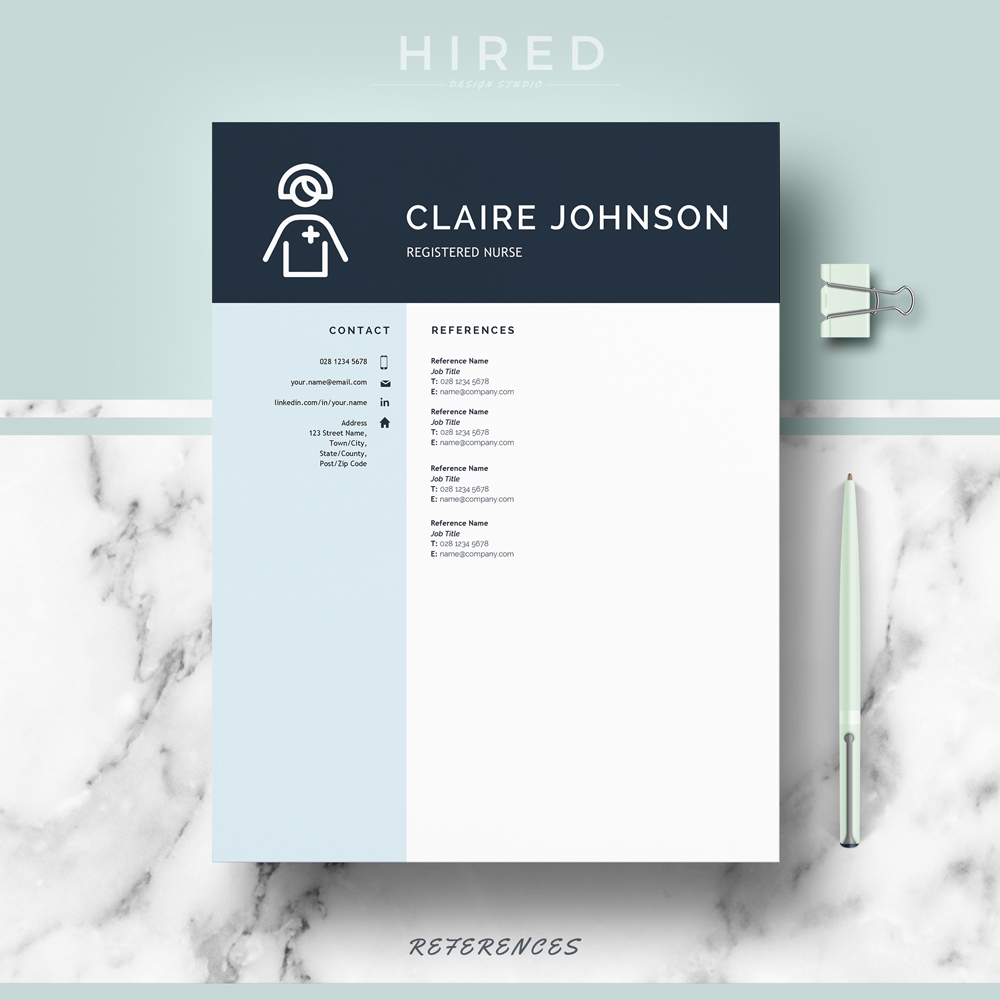 """Nurse Resume Template for MS Word: """"Claire"""""""