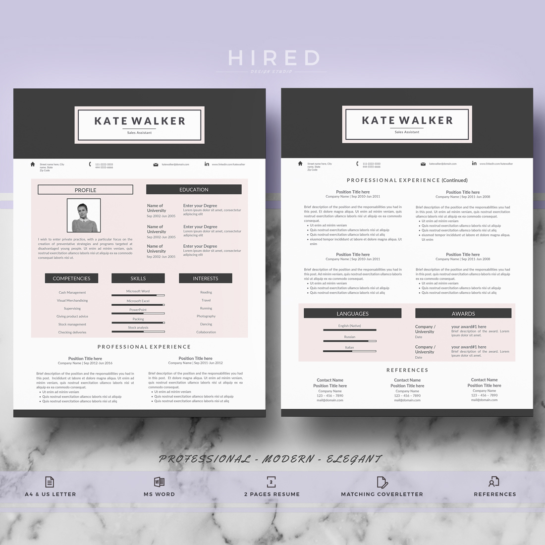 "Creative Resume Template for MS Word: ""Kate"""