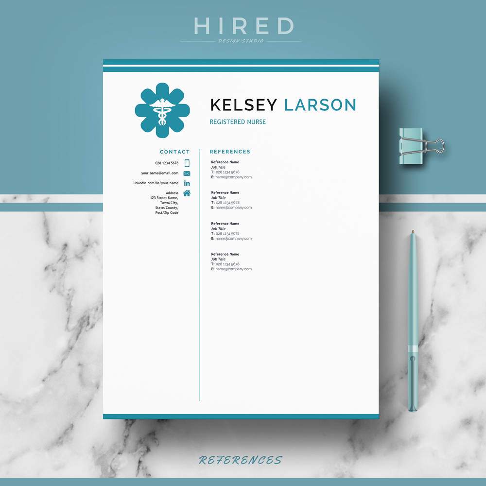 "Nurse Resume Template for MS Word: ""Kelsey"""