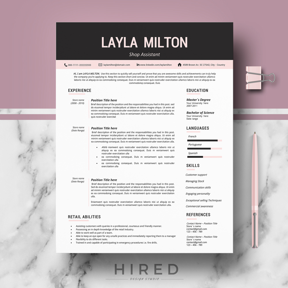 """Modern Resume Template for MS Word: """"Layla"""""""