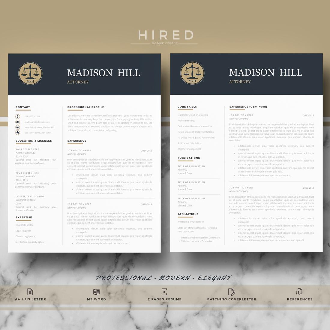 """Legal Resume Template for MS Word: """"Madison"""""""
