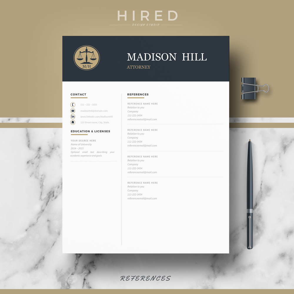"Legal Resume Template for MS Word: ""Madison"""