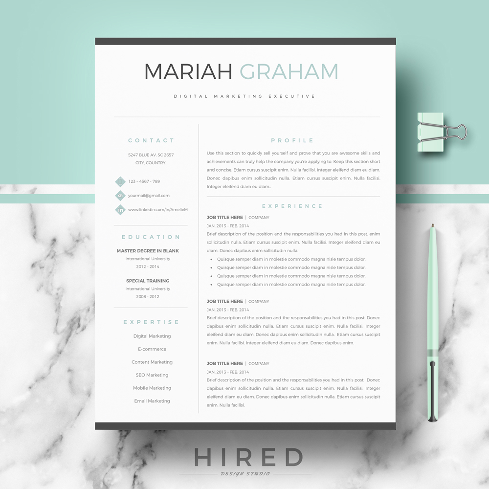 "Professional & Modern Resume Template for MS Word: ""Mariah"""