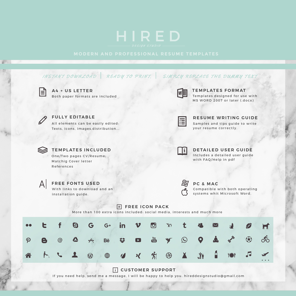"""Professional & Modern Resume Template for MS Word: """"Mariah"""""""