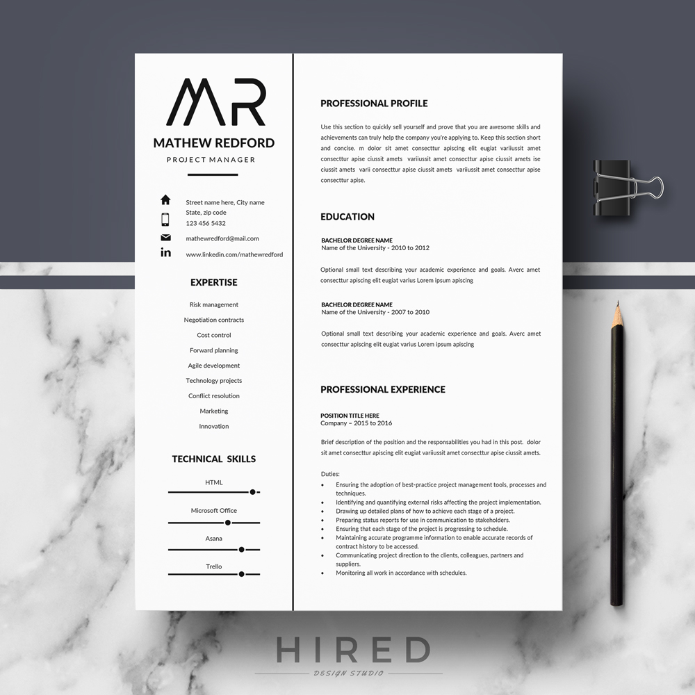 "Professional, Modern and Minimalist Resume Template for MS Word: ""Mathew"""