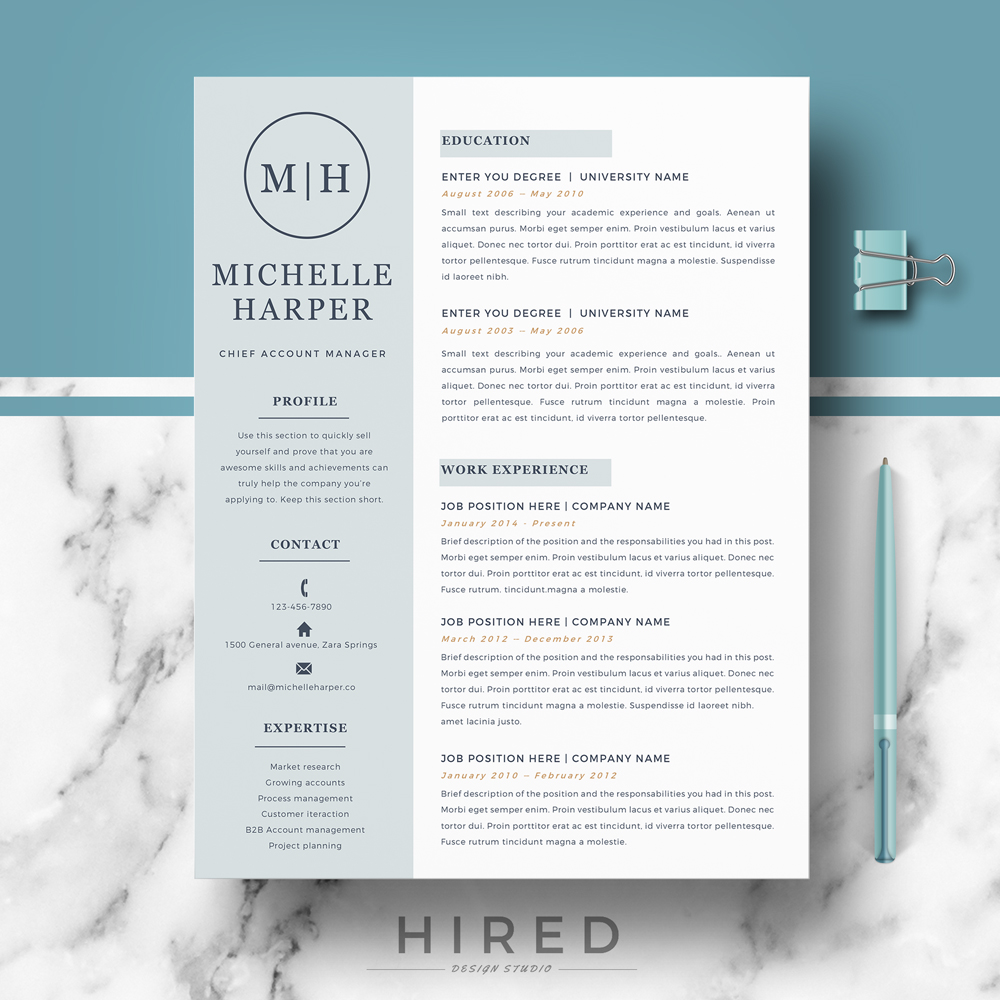 "Professional & Modern Resume Template for MS Word: ""Michelle"""