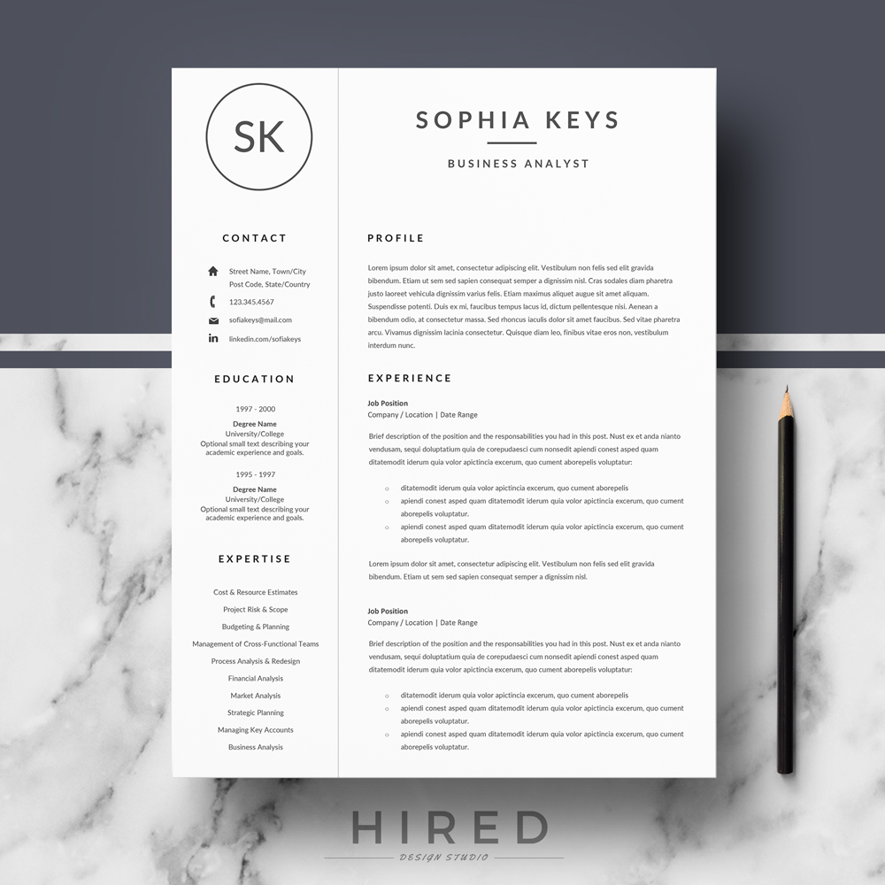 """Professional & Modern Resume Template for MS Word: """"Sophia"""""""