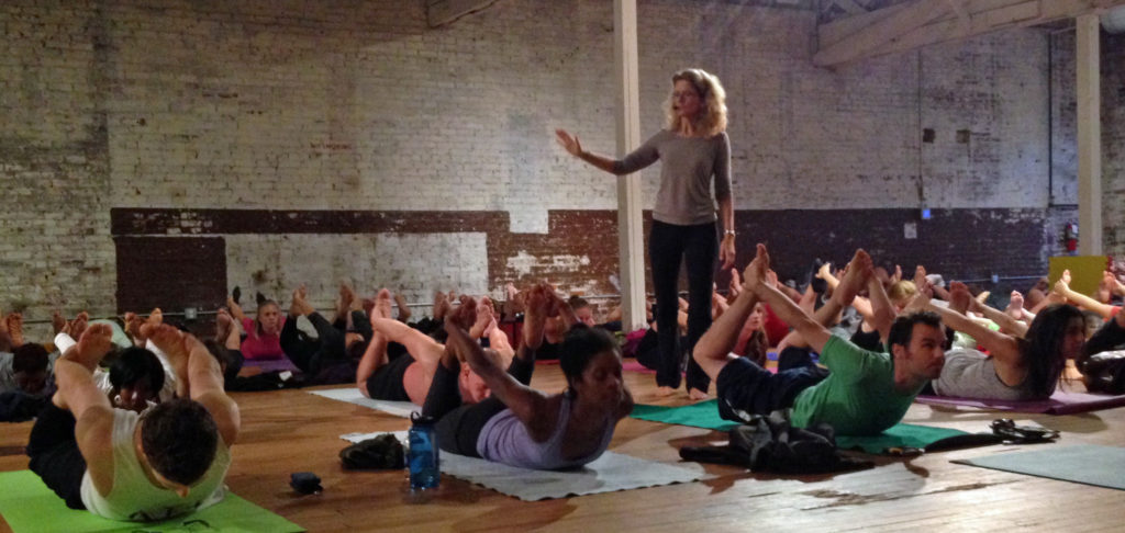 Roxane teaching at YogaFest Raleigh 2014