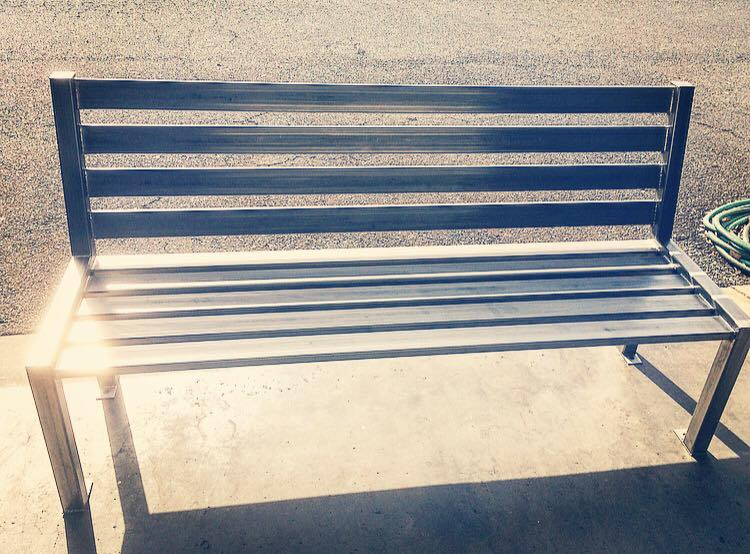 Custom made stainless steel bench
