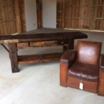 French Club Chair with French Carpenters Bench