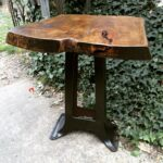 Industrial Side Table with Pecan Top
