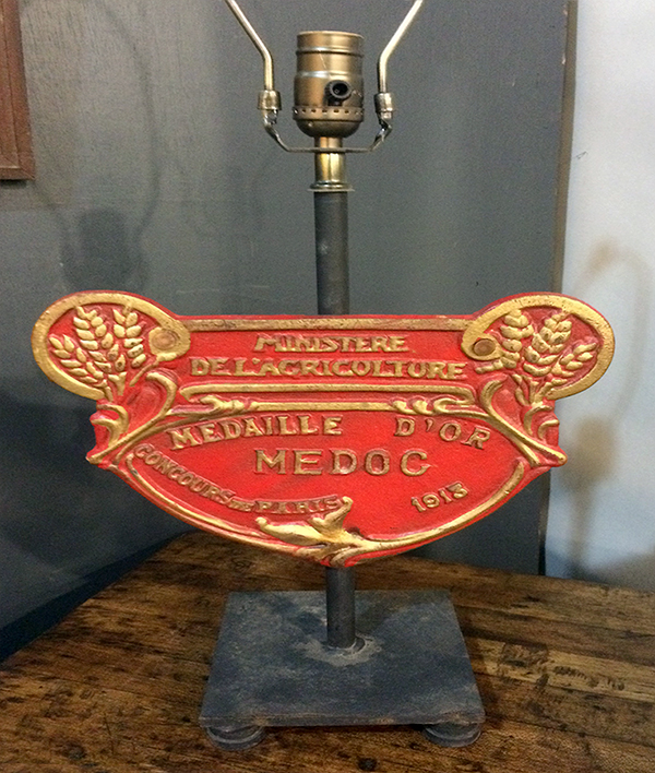 French Agricultural Plaque Lamp