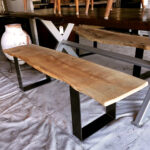 Live edge red oak bench with simple modern legs