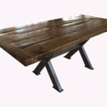 Oak Dining Table with Cross Stretcher Iron Base