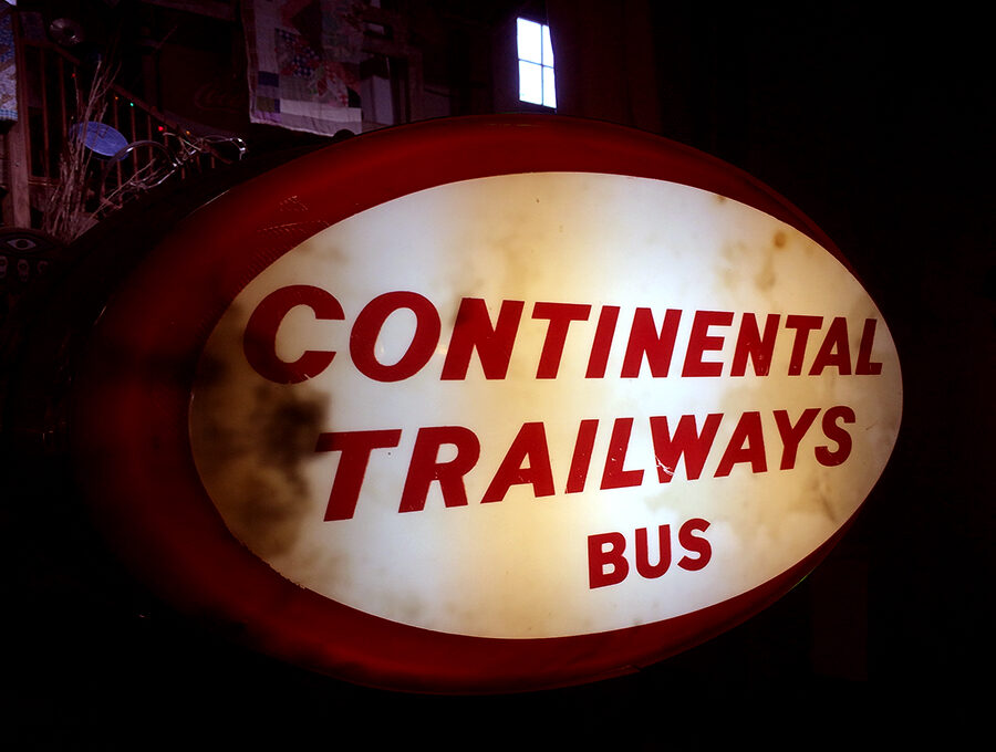 Continental Trailways Bus Sign