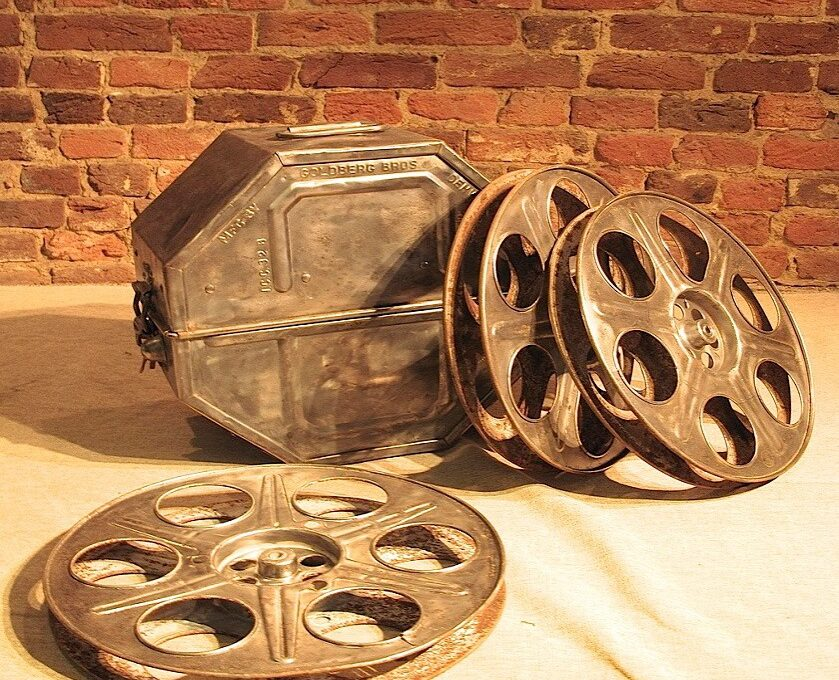Early Film Reels with Case