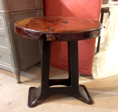 Industrial Side Table with Cyprus Top