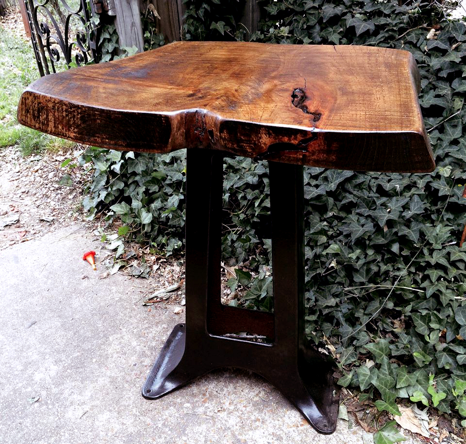 fairbrother designs - Industrial Side Table with Pecan Top