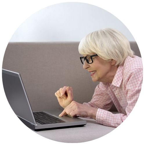 older lady on laptop