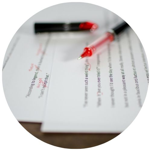 document being edited with red pen