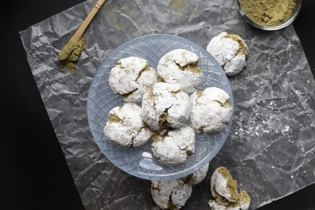 Matcha Amaretti Cookies (Gluten free version available)