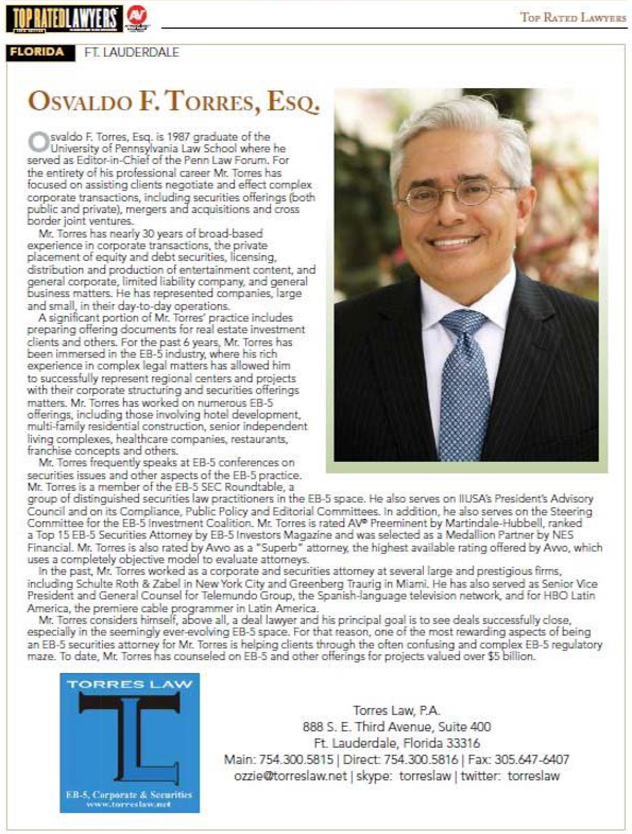 Osvaldo Torres featured in Top Lawyers