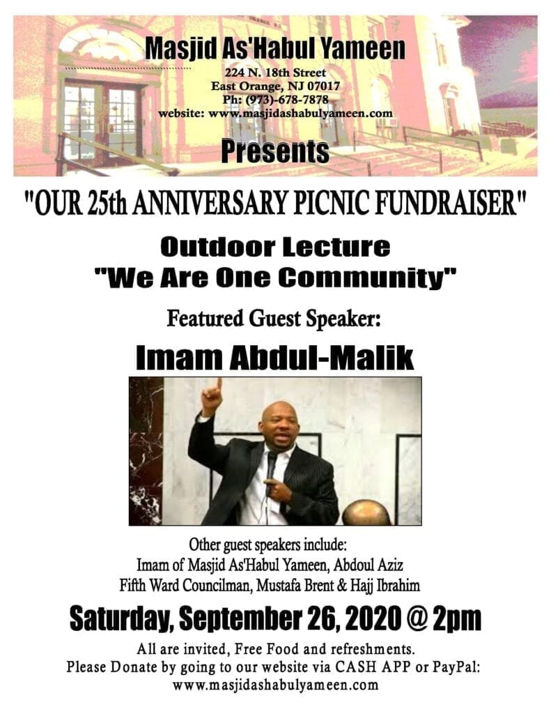 MAY - 08-30-20 - Outdoor Lecture Featuring Imam Abdul-Malik - We Are One Community Flyer-page-001