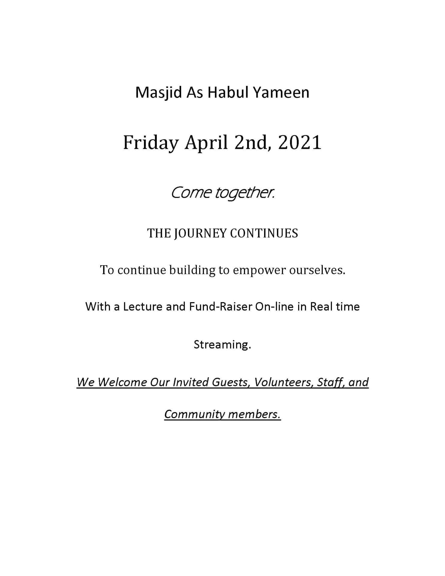 Masjid As Habul Yameen April 2 2021