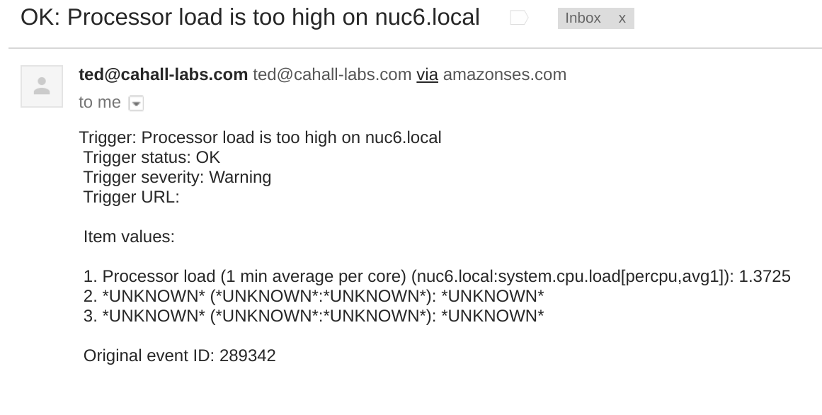 Zabbix Alert email sent via Amazon SES.