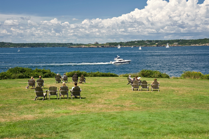 Relaxing on the lawn of a Bed and Breakfast Inn in Newport Rhode Island