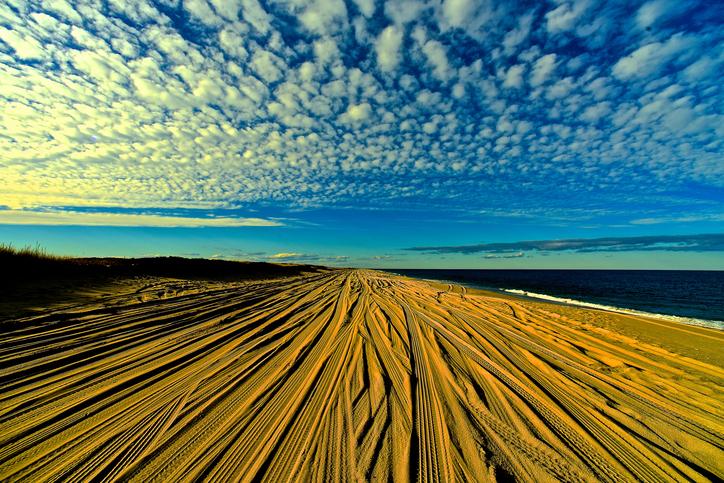 Beach Four Wheel Tracks with Sky