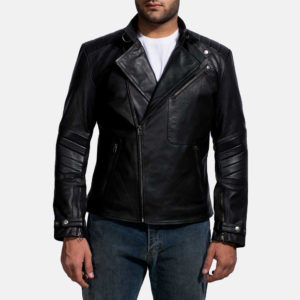 The double rider style is best identified by the off-centered zipper closure on the front.