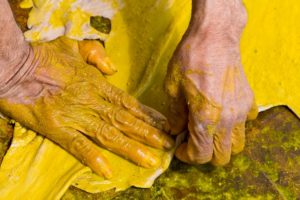 Application of dye can be done by using a cloth or sponge whichever works best for you.