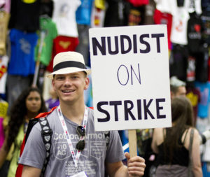 Nudist on Strike Halloween costume