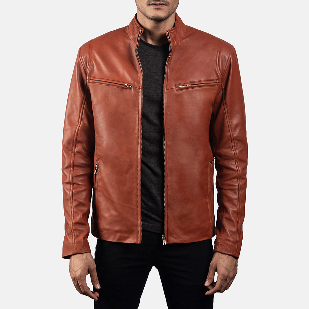 Ionic Tan Brown Leather Jacket