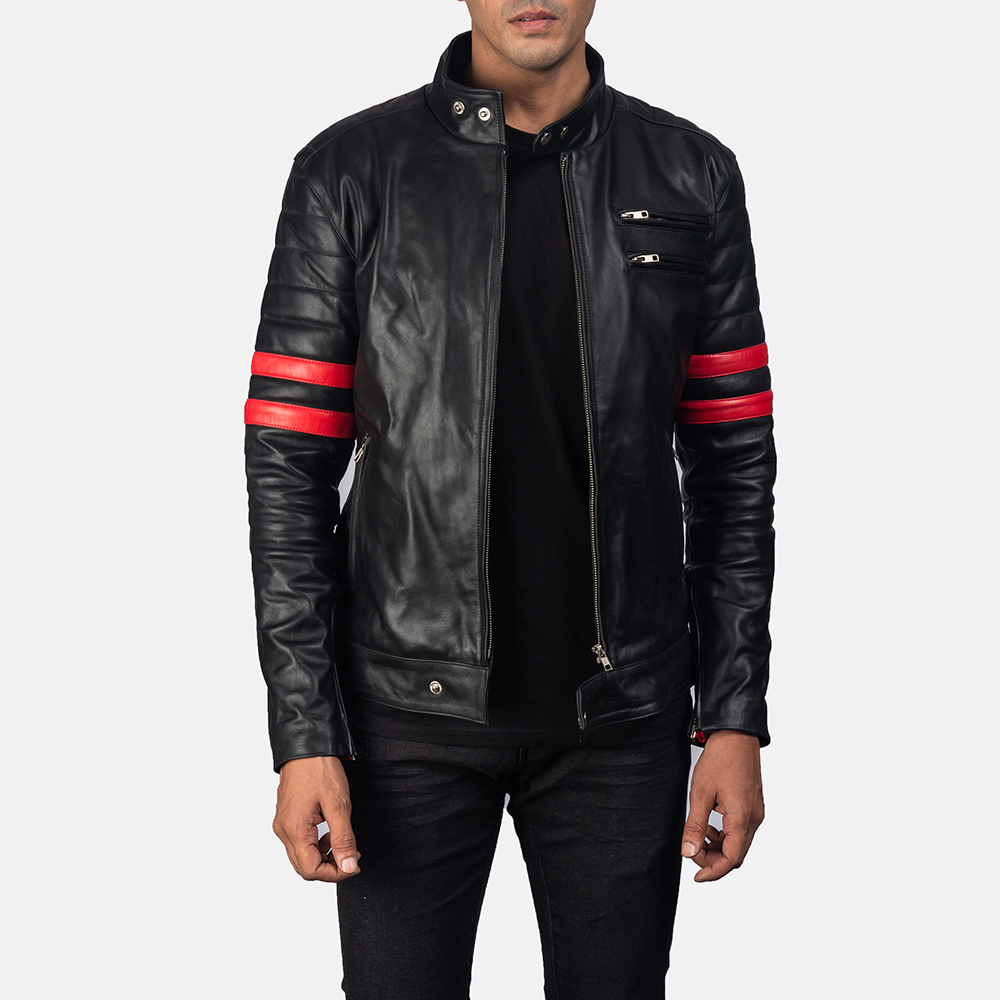 Monza Black & Red Leather Biker Jacket