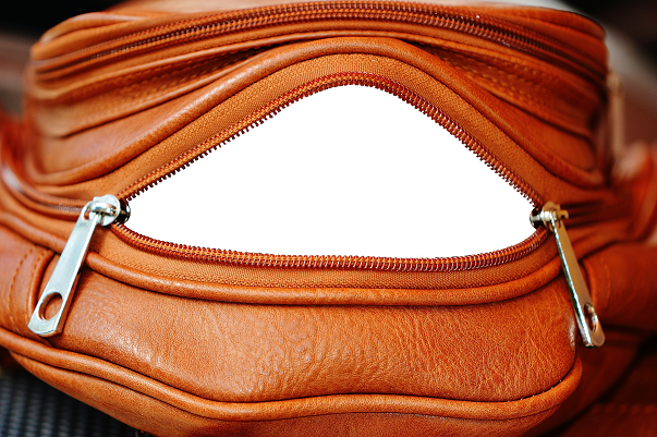 Inside of leather bag