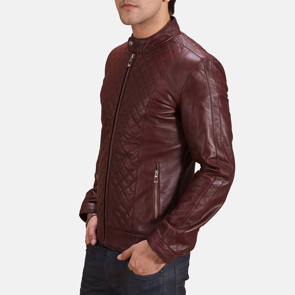 Mars Maroon Leather Coat
