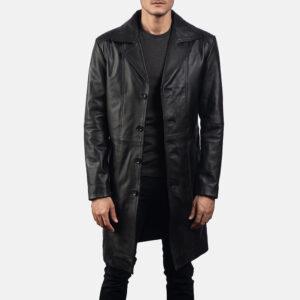 Don Long Black Leather Coat