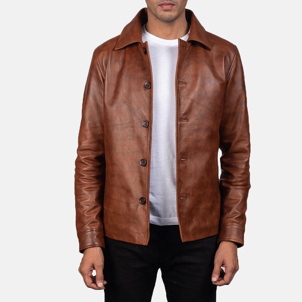 Waffle-Brown-Leather-Jacket