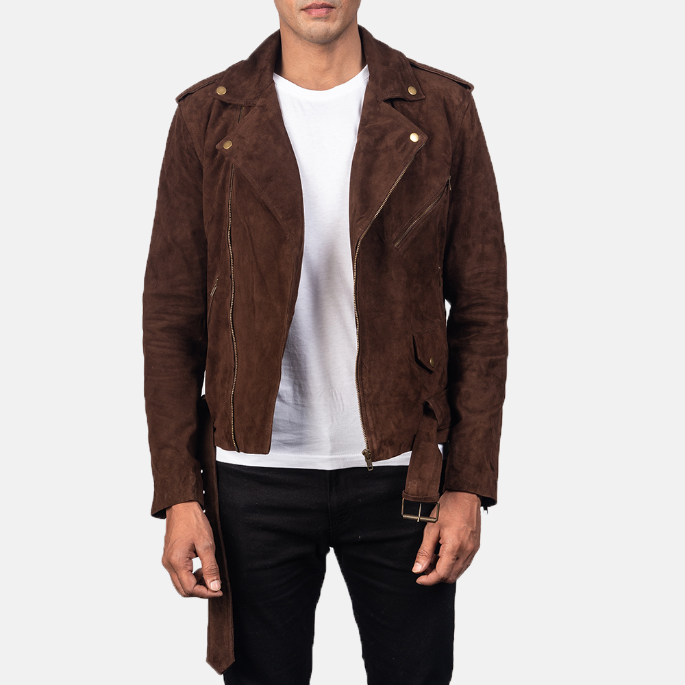 Mocha Suede Brown Leather Jacket