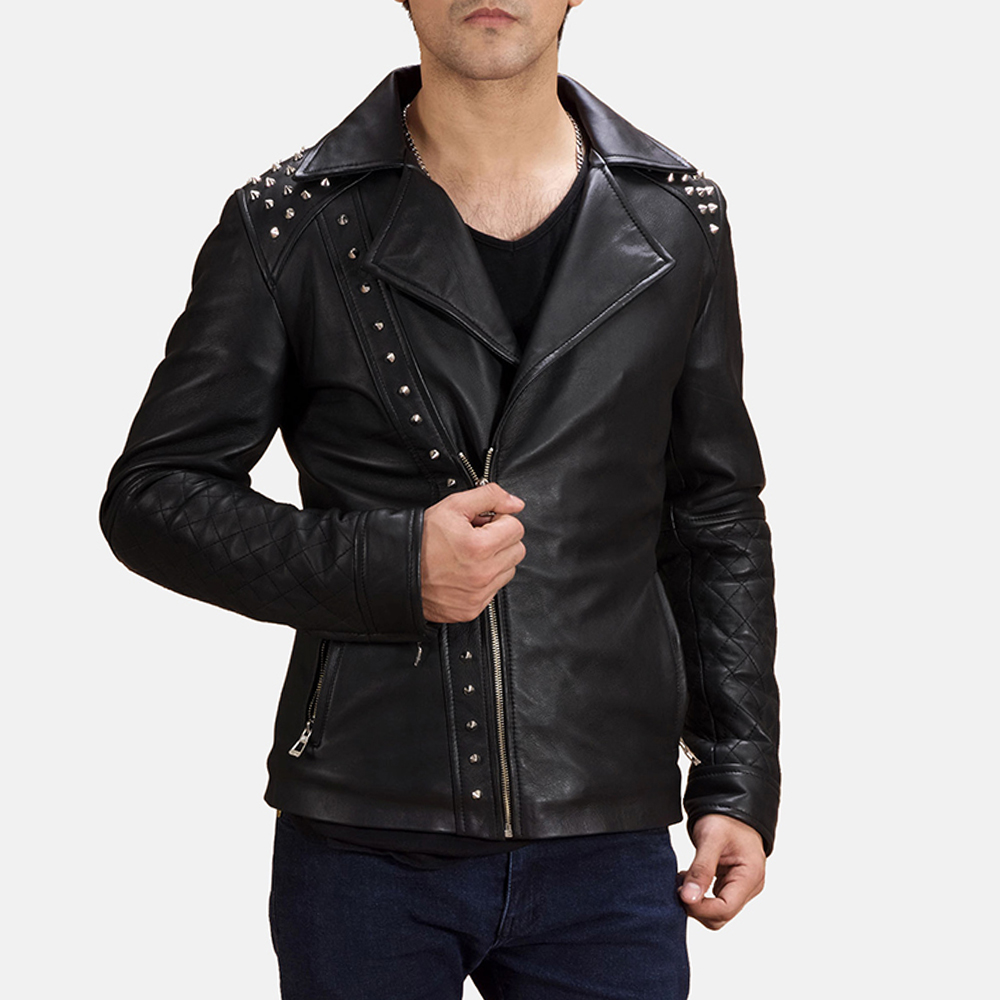 Black studded biker leather jacket