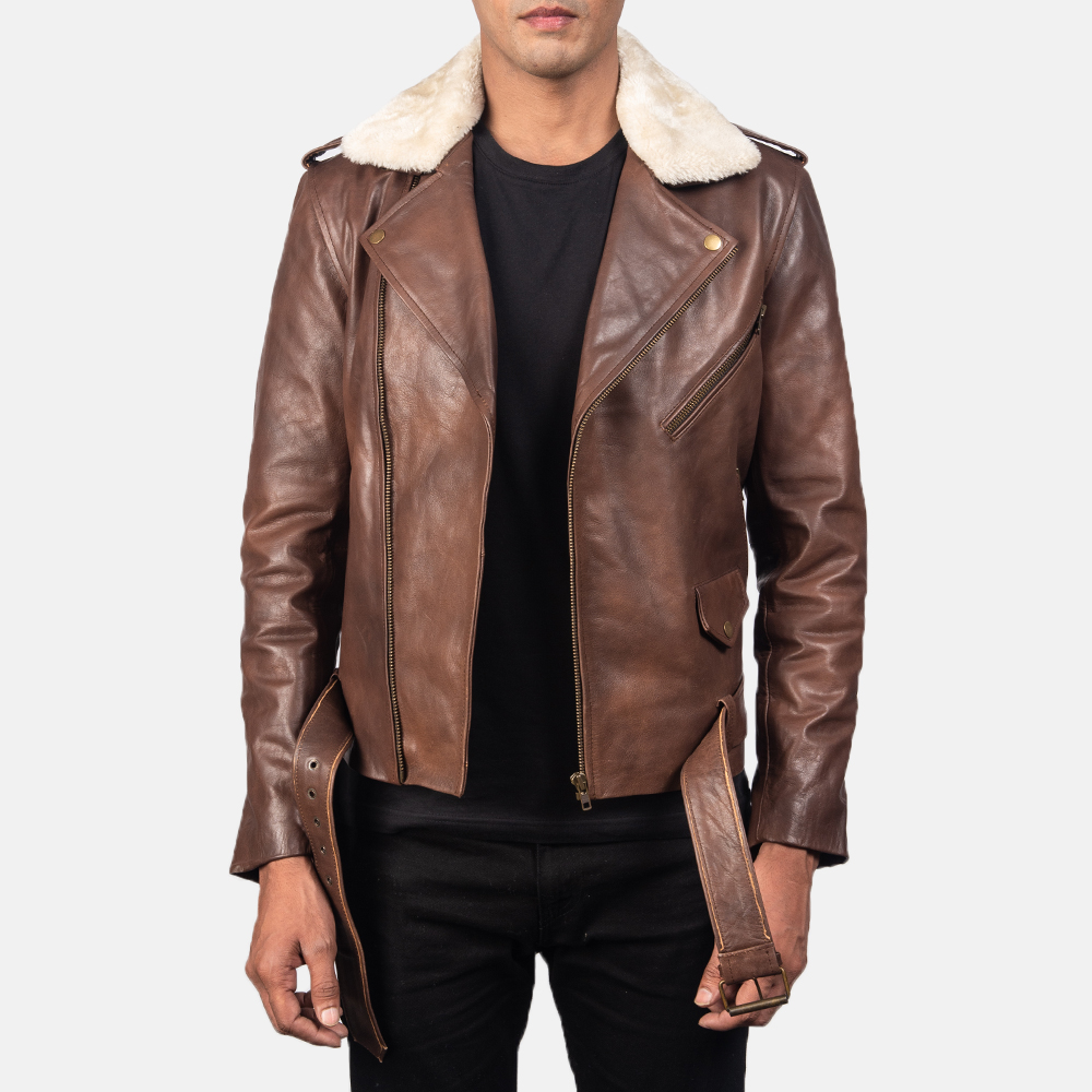 Brown Fur Leather Jacket