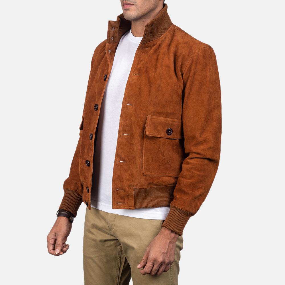 Suede Brown Bomber Jacket