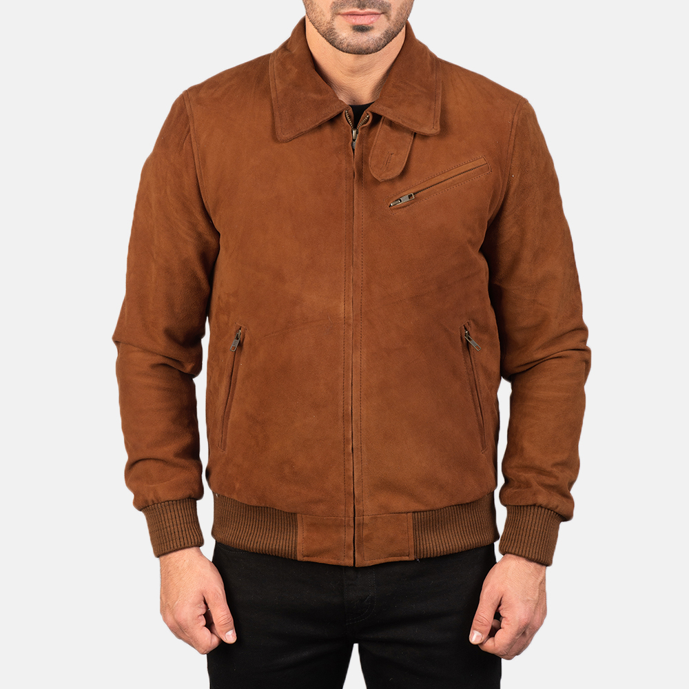 tan bomber suede jacket