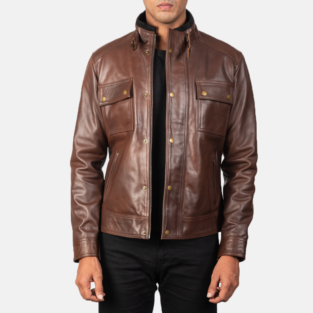 brown cowhide leather jacket